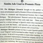 Domino Pizza used Sambo in one of there ads